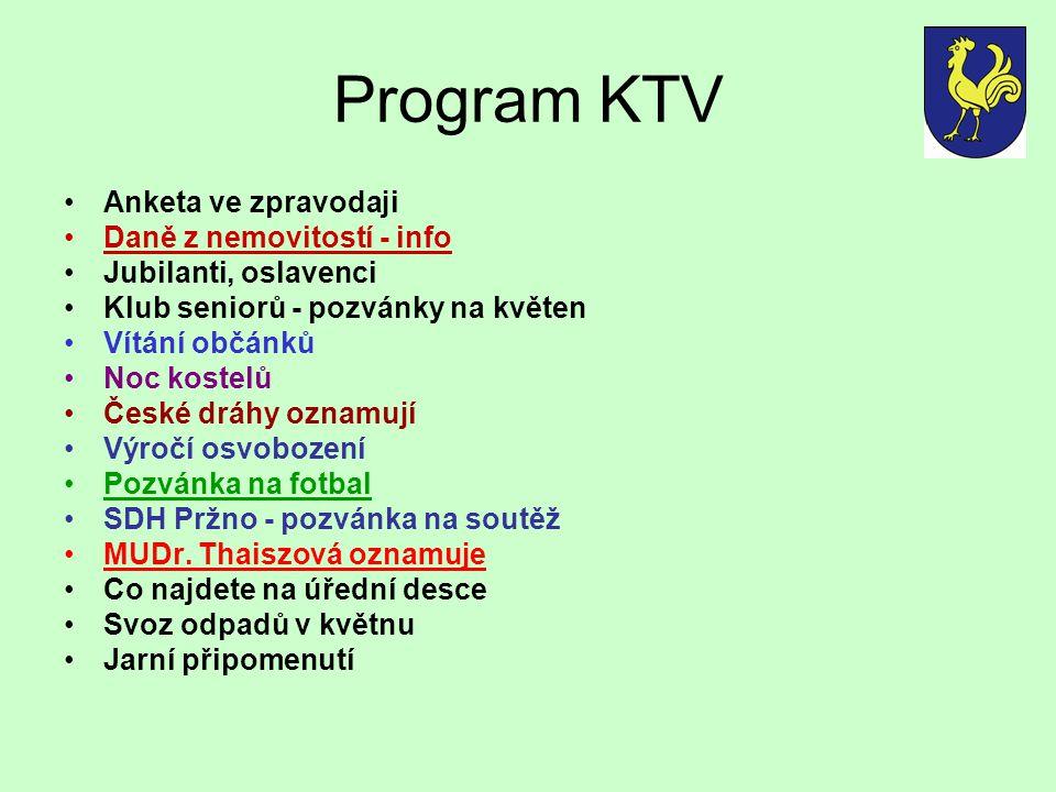 Program KTV Anketa ve zpravodaji Daně z nemovitostí - info