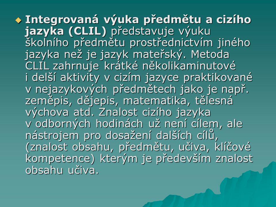 Integrovaná výuka předmětu a cizího jazyka (CLIL) představuje výuku školního předmětu prostřednictvím jiného jazyka než je jazyk mateřský.