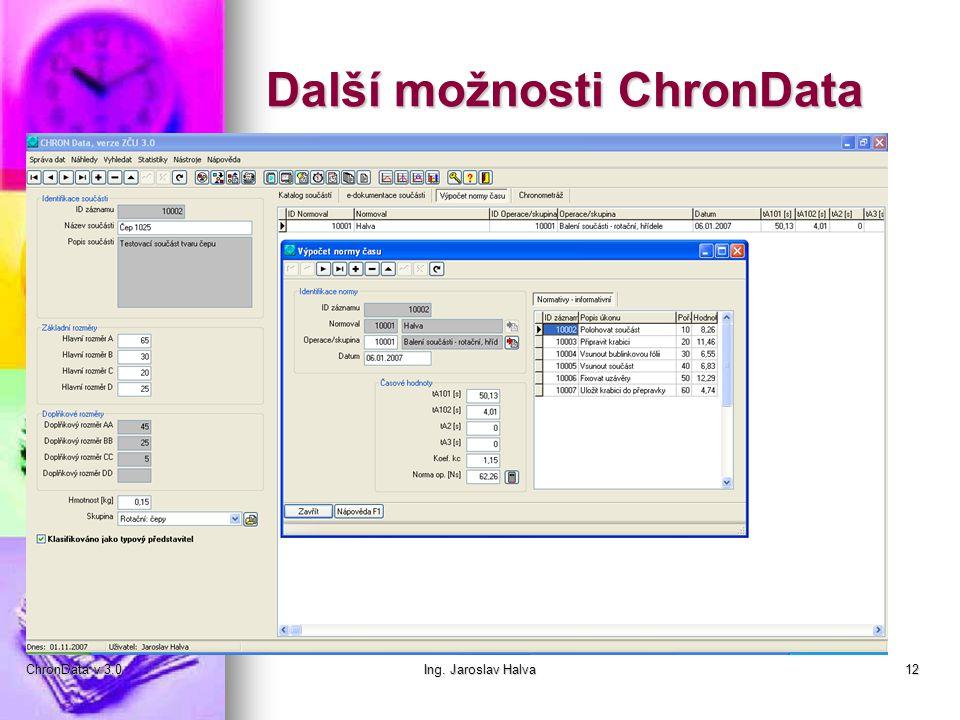 Další možnosti ChronData