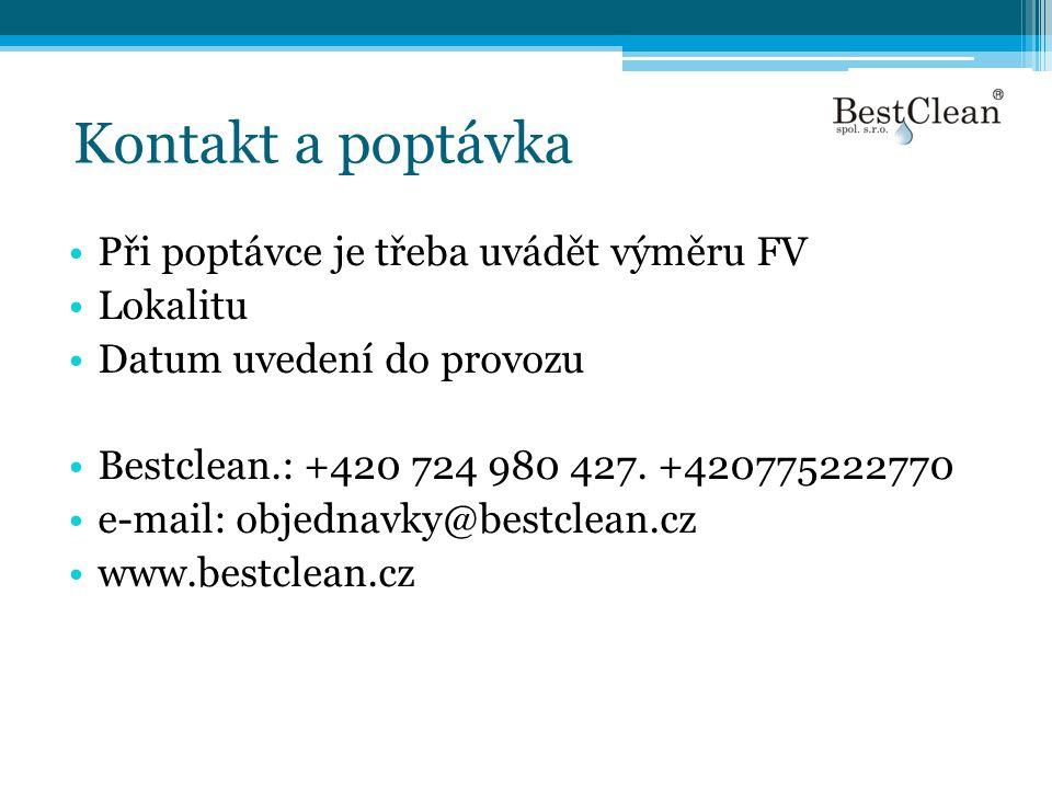 Kontakt a poptávka Při poptávce je třeba uvádět výměru FV Lokalitu