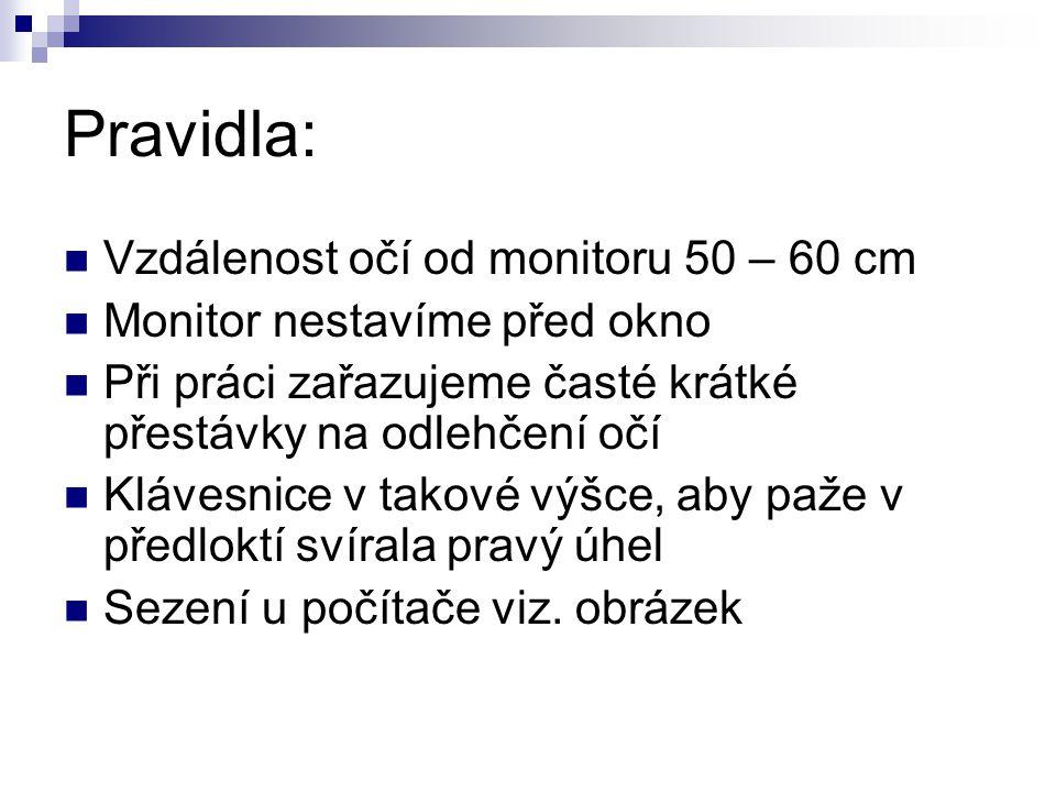 Pravidla: Vzdálenost očí od monitoru 50 – 60 cm