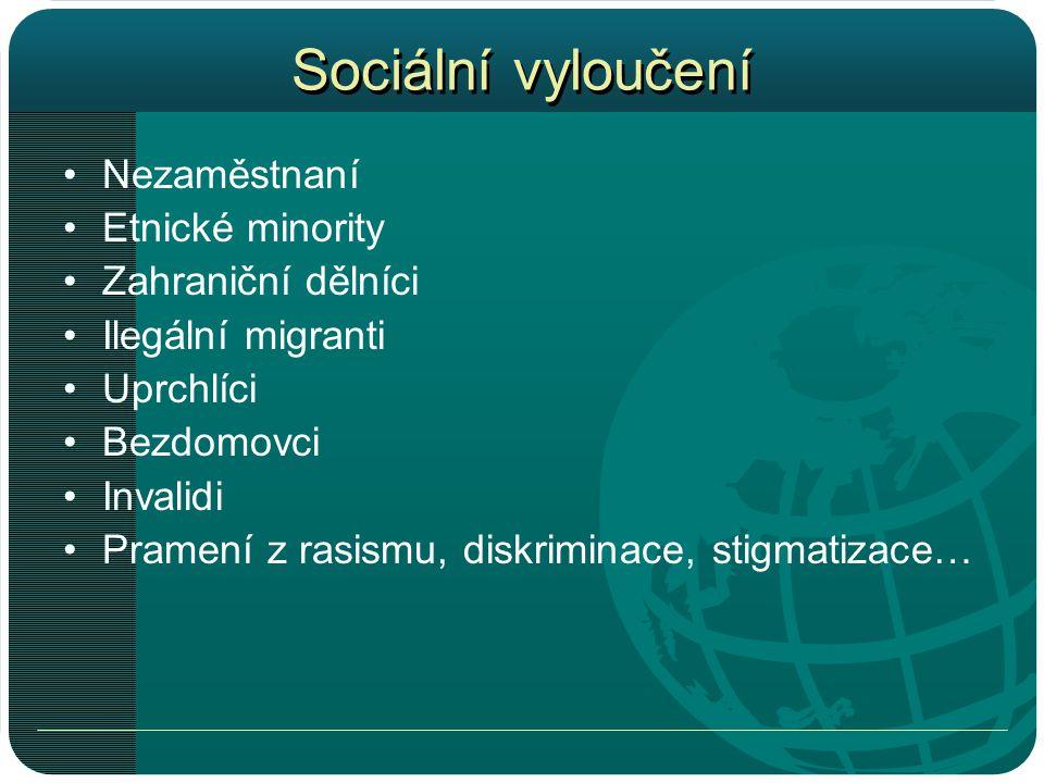 Sociální vyloučení Nezaměstnaní Etnické minority Zahraniční dělníci
