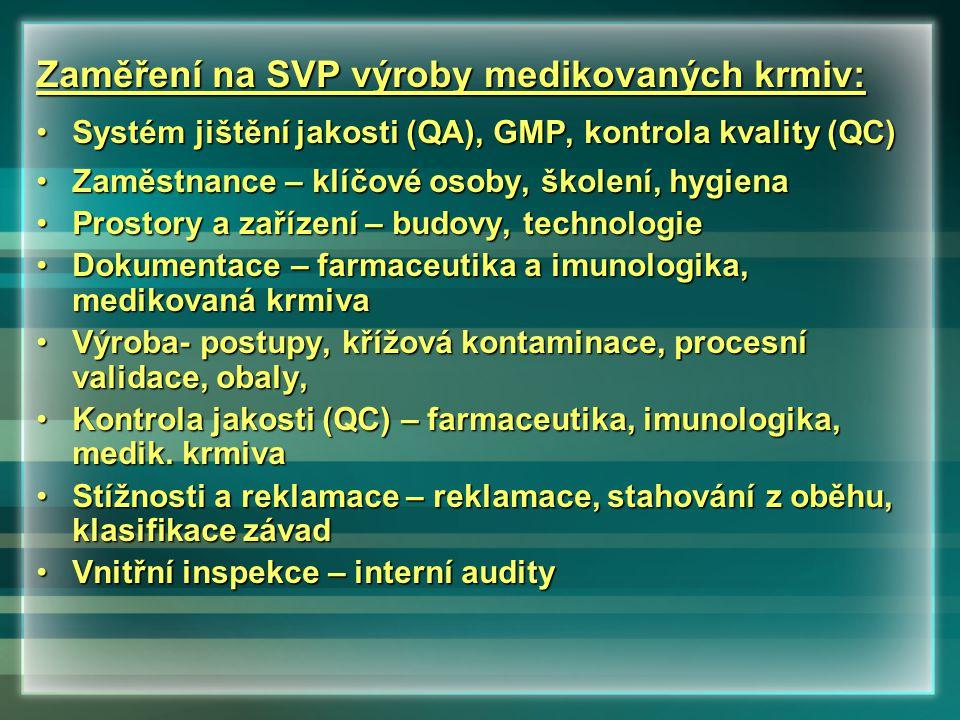 Zaměření na SVP výroby medikovaných krmiv: