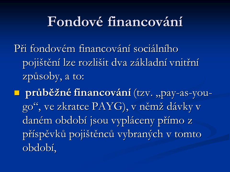 Fondové financování Při fondovém financování sociálního pojištění lze rozlišit dva základní vnitřní způsoby, a to: