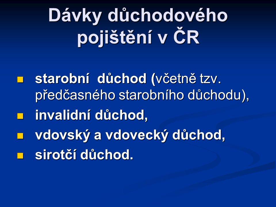 Dávky důchodového pojištění v ČR