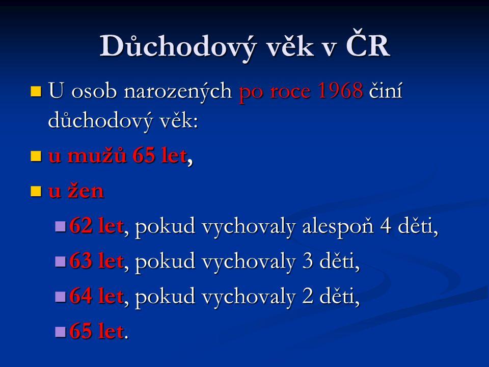 Důchodový věk v ČR U osob narozených po roce 1968 činí důchodový věk: