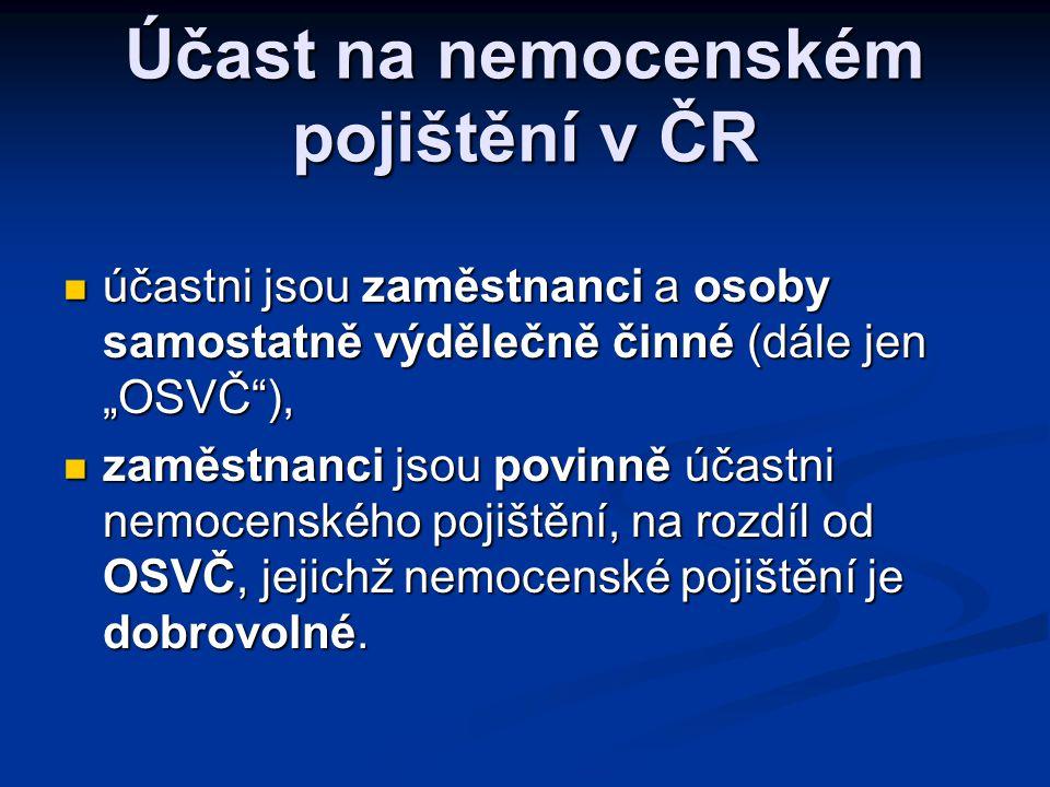 Účast na nemocenském pojištění v ČR