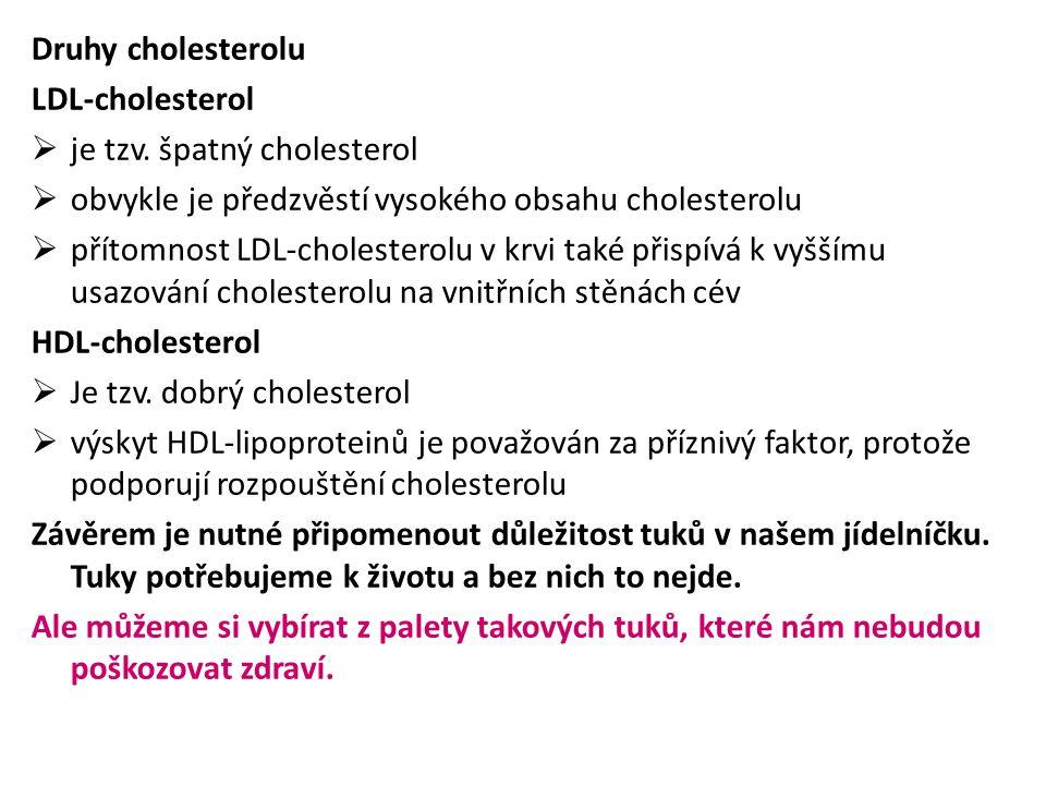 Druhy cholesterolu LDL-cholesterol. je tzv. špatný cholesterol. obvykle je předzvěstí vysokého obsahu cholesterolu.