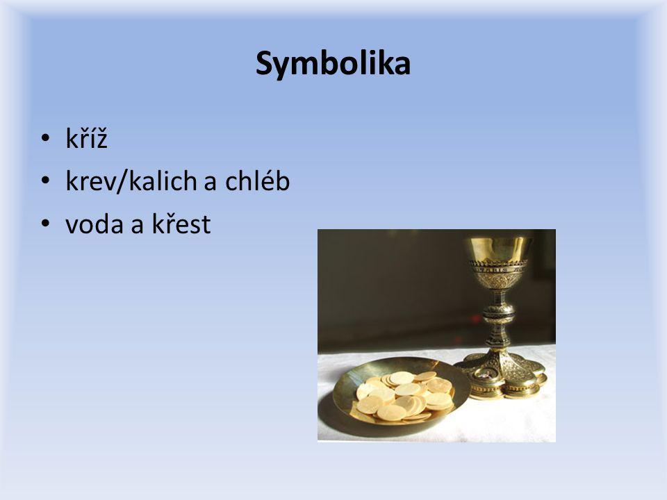 Symbolika kříž krev/kalich a chléb voda a křest