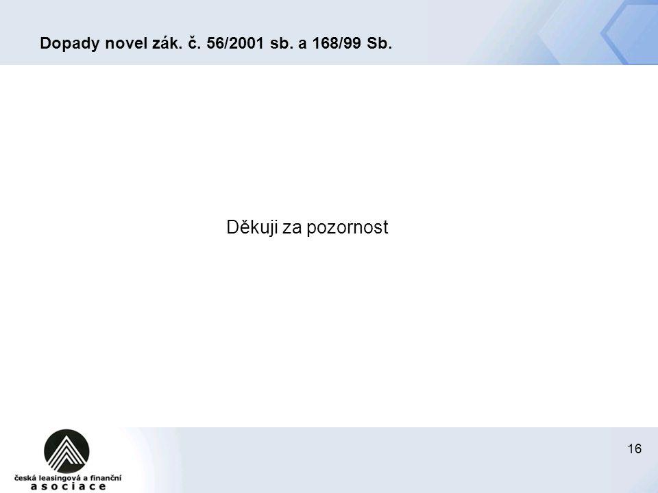 Dopady novel zák. č. 56/2001 sb. a 168/99 Sb.