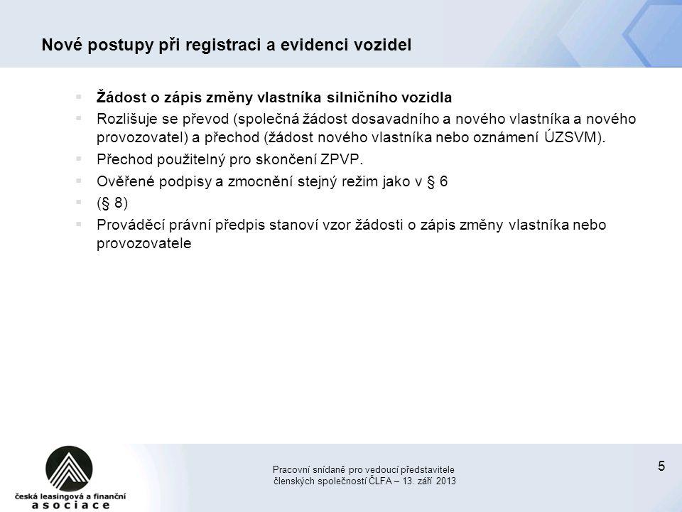 Nové postupy při registraci a evidenci vozidel