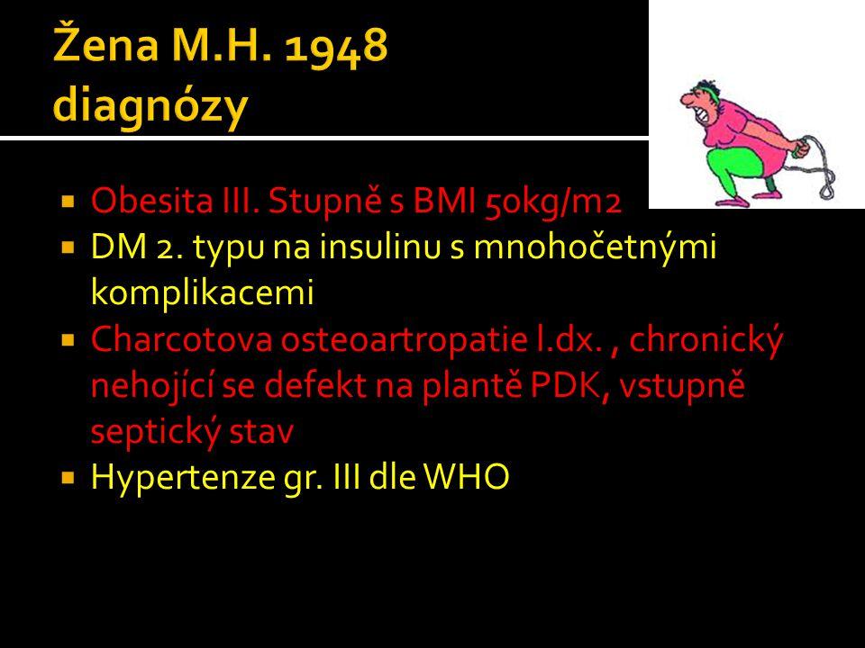 Žena M.H. 1948 diagnózy Obesita III. Stupně s BMI 50kg/m2