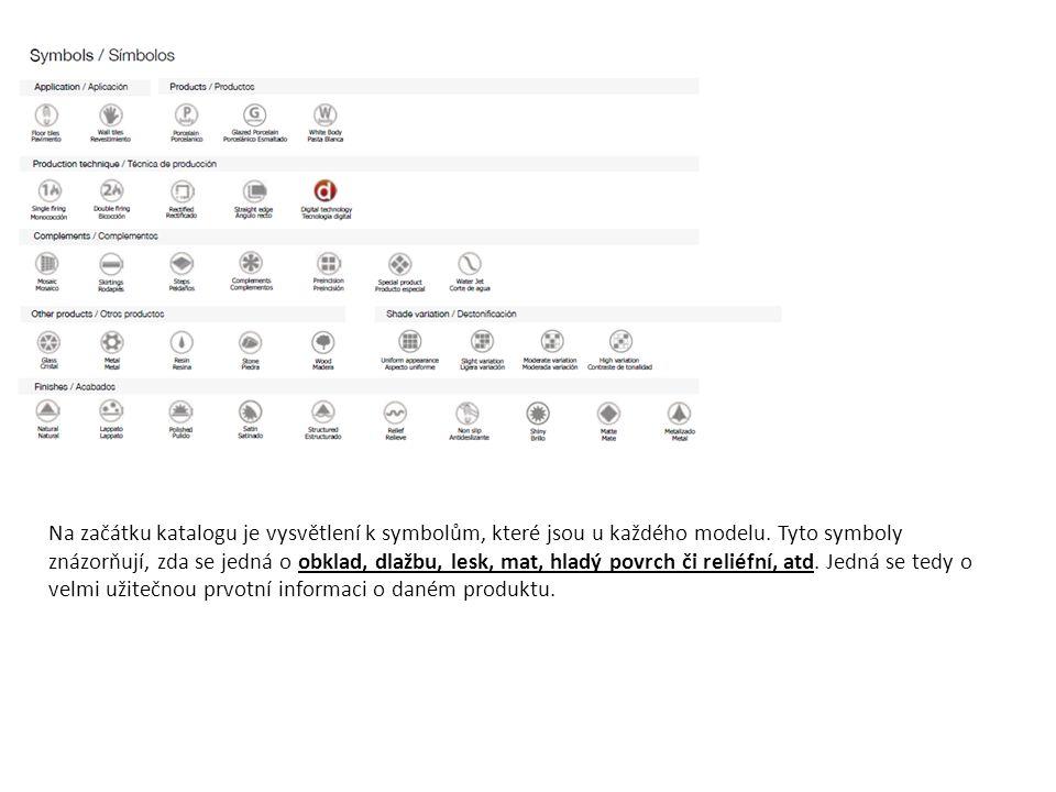 Na začátku katalogu je vysvětlení k symbolům, které jsou u každého modelu.