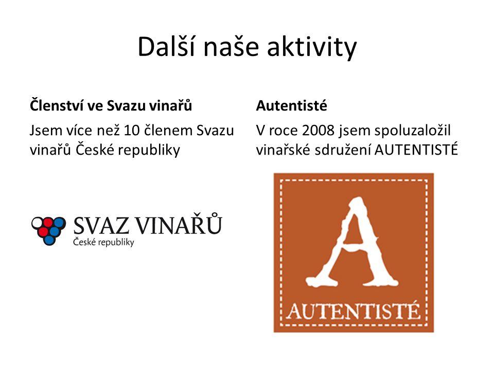 Další naše aktivity Členství ve Svazu vinařů Autentisté