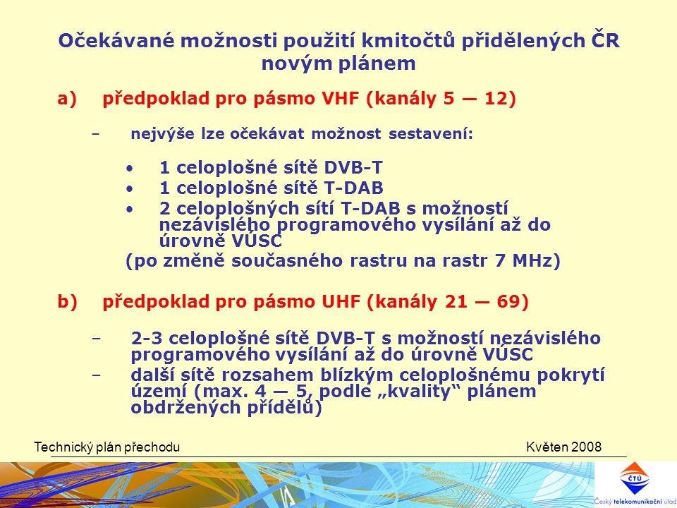 Očekávané možnosti použití kmitočtů přidělených ČR novým plánem