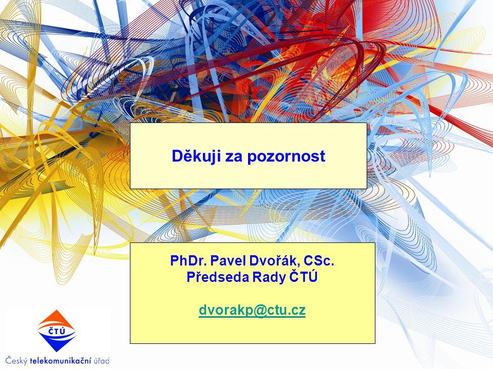Děkuji za pozornost PhDr. Pavel Dvořák, CSc. Předseda Rady ČTÚ