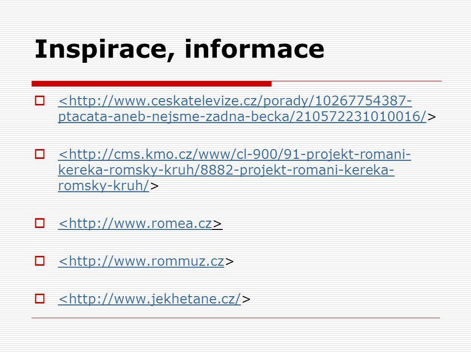 Inspirace, informace <http://www.ceskatelevize.cz/porady/10267754387-ptacata-aneb-nejsme-zadna-becka/210572231010016/>