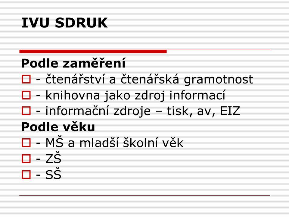 IVU SDRUK Podle zaměření - čtenářství a čtenářská gramotnost