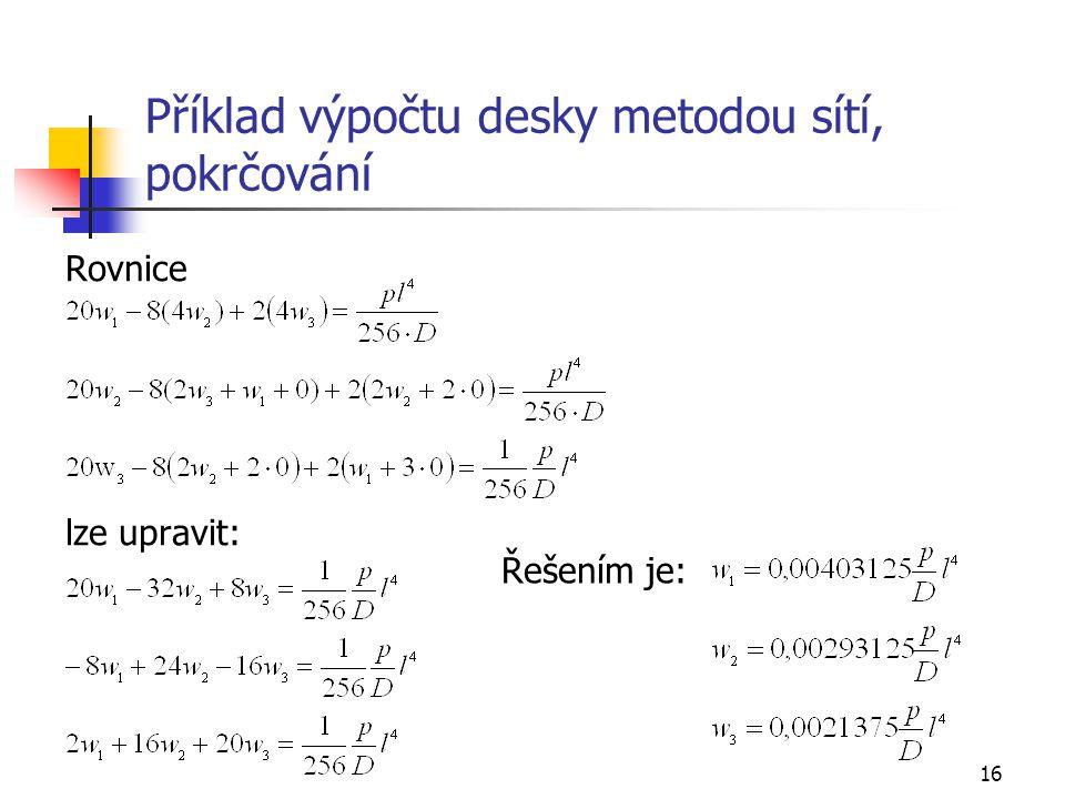 Příklad výpočtu desky metodou sítí, pokrčování