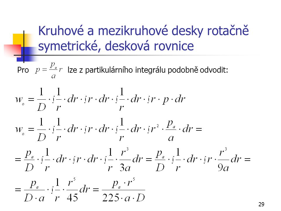 Kruhové a mezikruhové desky rotačně symetrické, desková rovnice