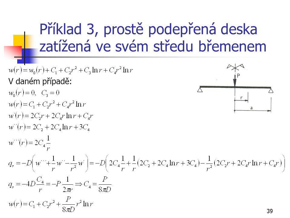 Příklad 3, prostě podepřená deska zatížená ve svém středu břemenem