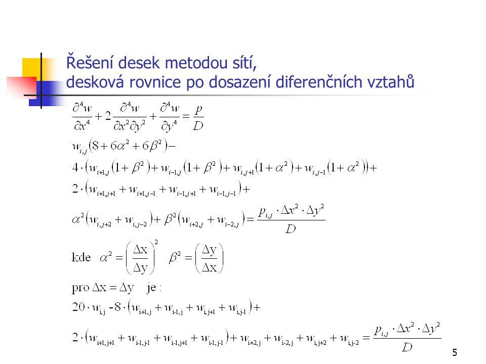 Řešení desek metodou sítí, desková rovnice po dosazení diferenčních vztahů
