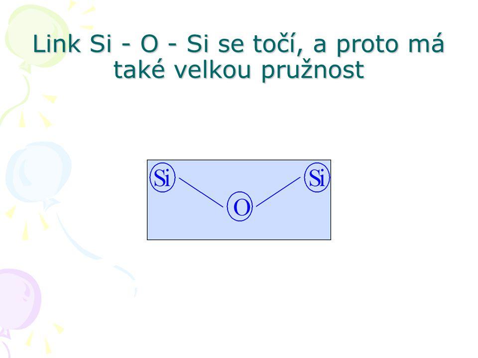 Link Si - O - Si se točí, a proto má také velkou pružnost