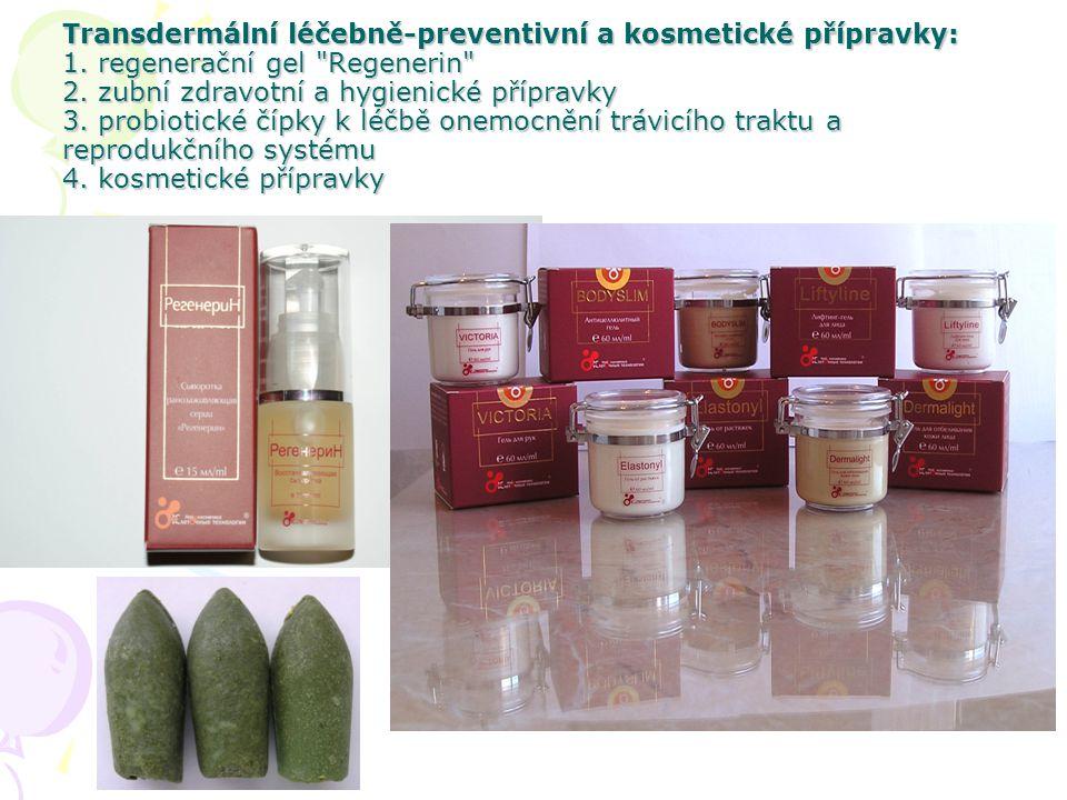 Transdermální léčebně-preventivní a kosmetické přípravky: 1