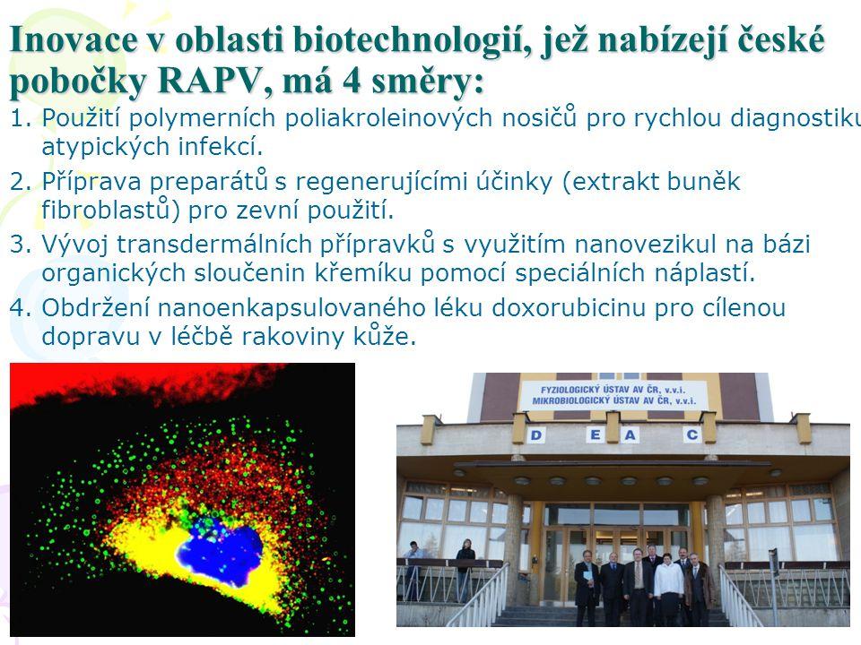 Inovace v oblasti biotechnologií, jež nabízejí české pobočky RAPV, má 4 směry: