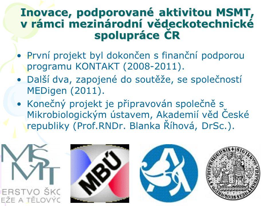 Inovace, podporované aktivitou MSMT, v rámci mezinárodní vědeckotechnické spolupráce ČR