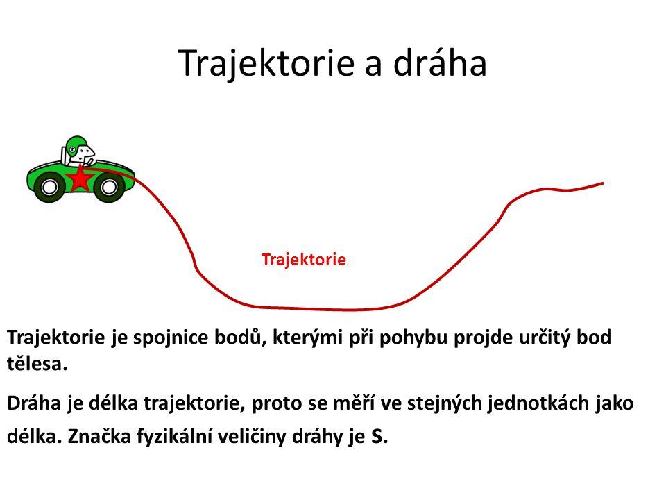 Trajektorie a dráha Trajektorie. Trajektorie je spojnice bodů, kterými při pohybu projde určitý bod tělesa.