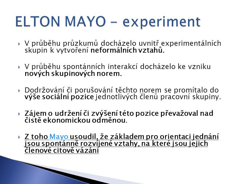 ELTON MAYO - experiment