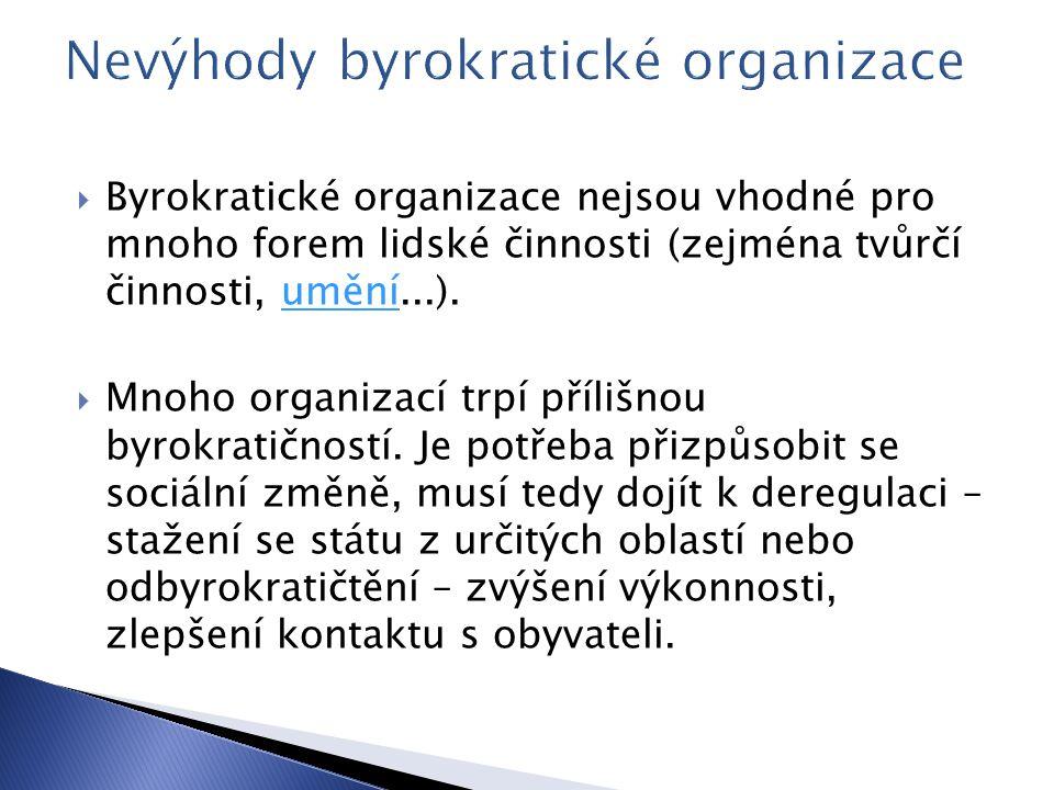 Nevýhody byrokratické organizace
