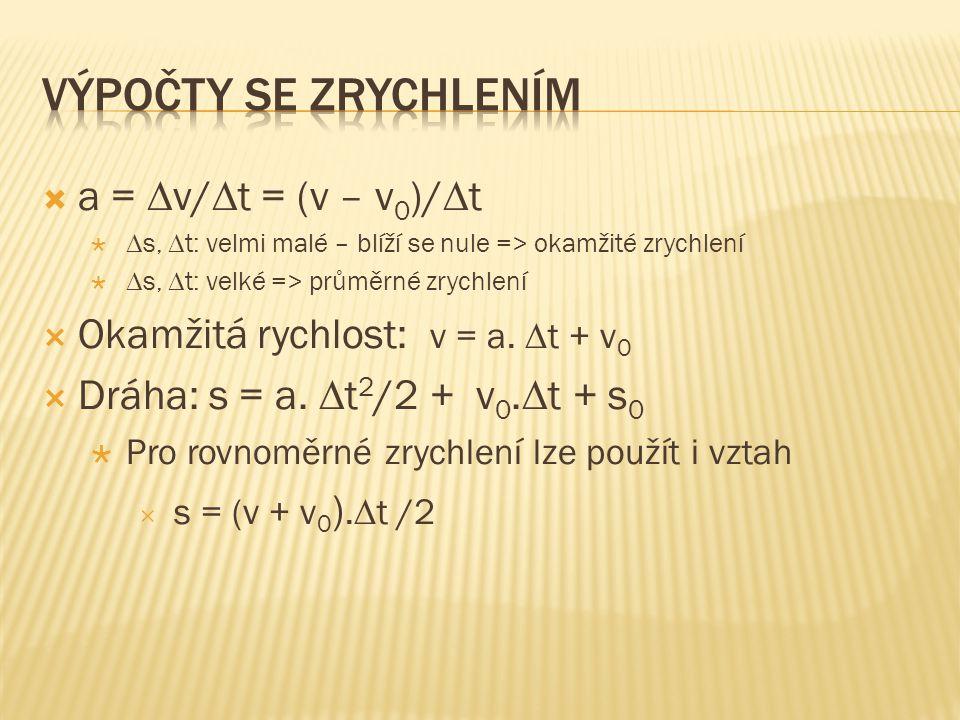 Výpočty se zrychlením a = v/t = (v – v0)/t