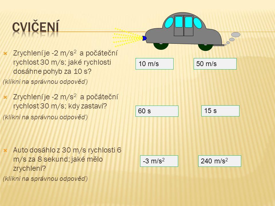 Cvičení Zrychlení je -2 m/s2 a počáteční rychlost 30 m/s; jaké rychlosti dosáhne pohyb za 10 s (klikni na správnou odpověď)