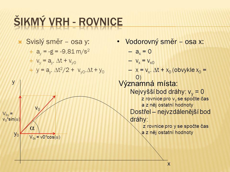 Šikmý vrh - rovnice Svislý směr – osa y: Vodorovný směr – osa x:
