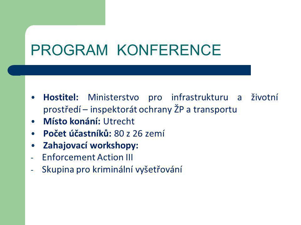 PROGRAM KONFERENCE Hostitel: Ministerstvo pro infrastrukturu a životní prostředí – inspektorát ochrany ŽP a transportu.
