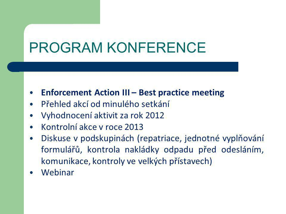 PROGRAM KONFERENCE Enforcement Action III – Best practice meeting