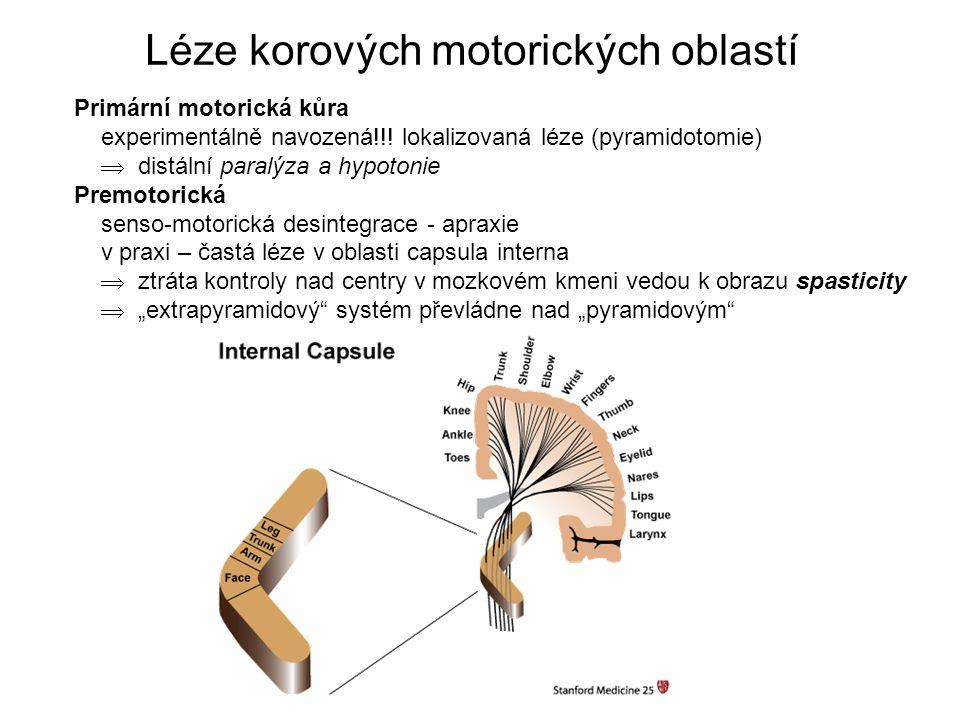 Léze korových motorických oblastí