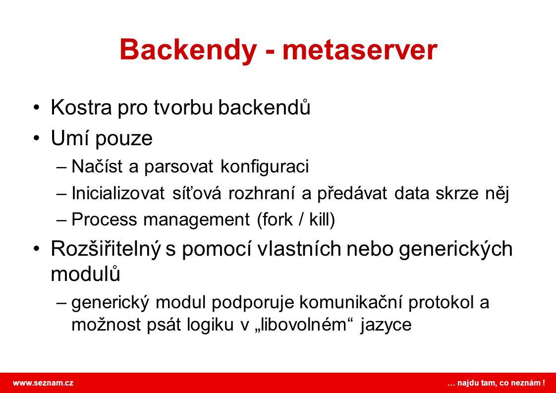 Backendy - metaserver Kostra pro tvorbu backendů Umí pouze