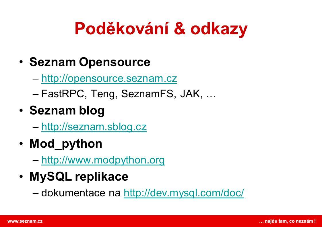 Poděkování & odkazy Seznam Opensource Seznam blog Mod_python