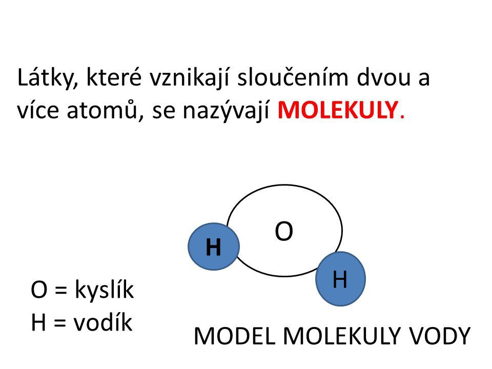 Látky, které vznikají sloučením dvou a více atomů, se nazývají MOLEKULY.