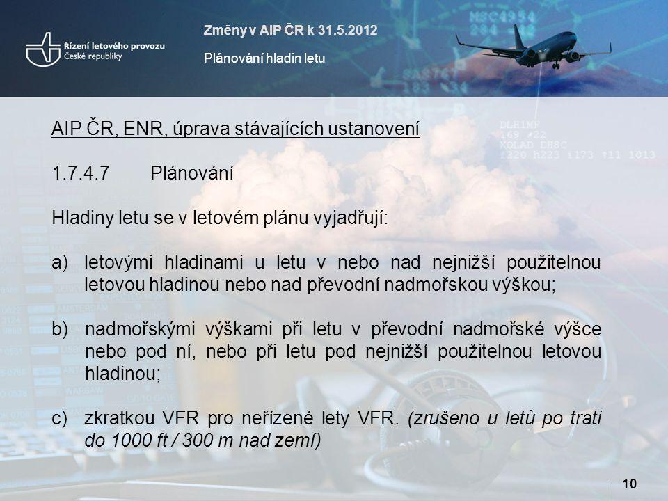 AIP ČR, ENR, úprava stávajících ustanovení 1.7.4.7 Plánování