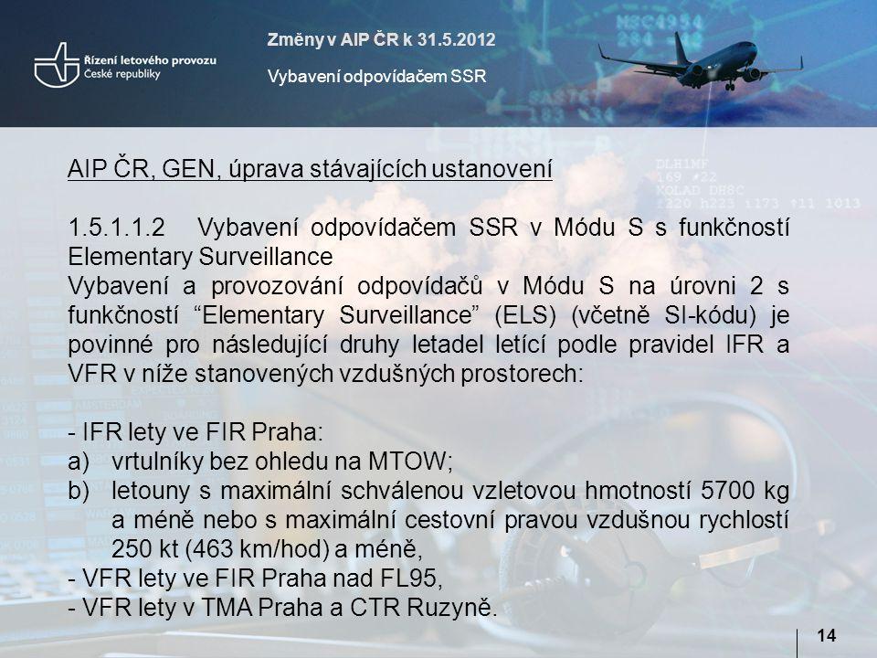 AIP ČR, GEN, úprava stávajících ustanovení