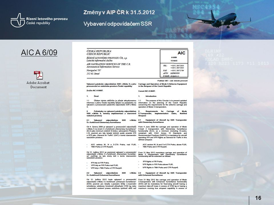 Změny v AIP ČR k 31.5.2012 Vybavení odpovídačem SSR AIC A 6/09 16
