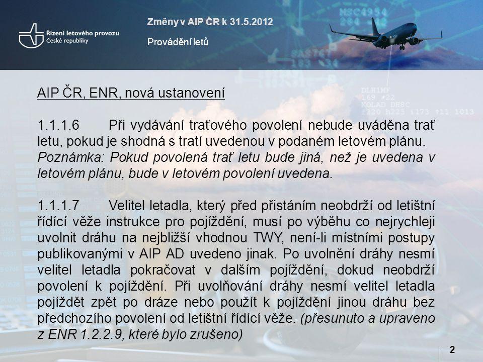 AIP ČR, ENR, nová ustanovení
