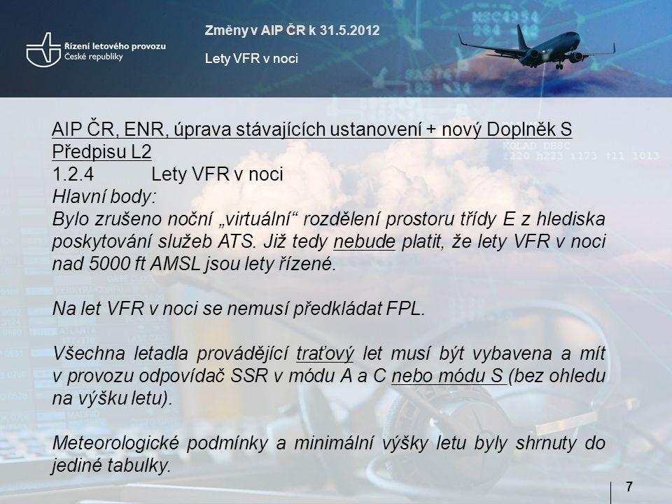 Na let VFR v noci se nemusí předkládat FPL.