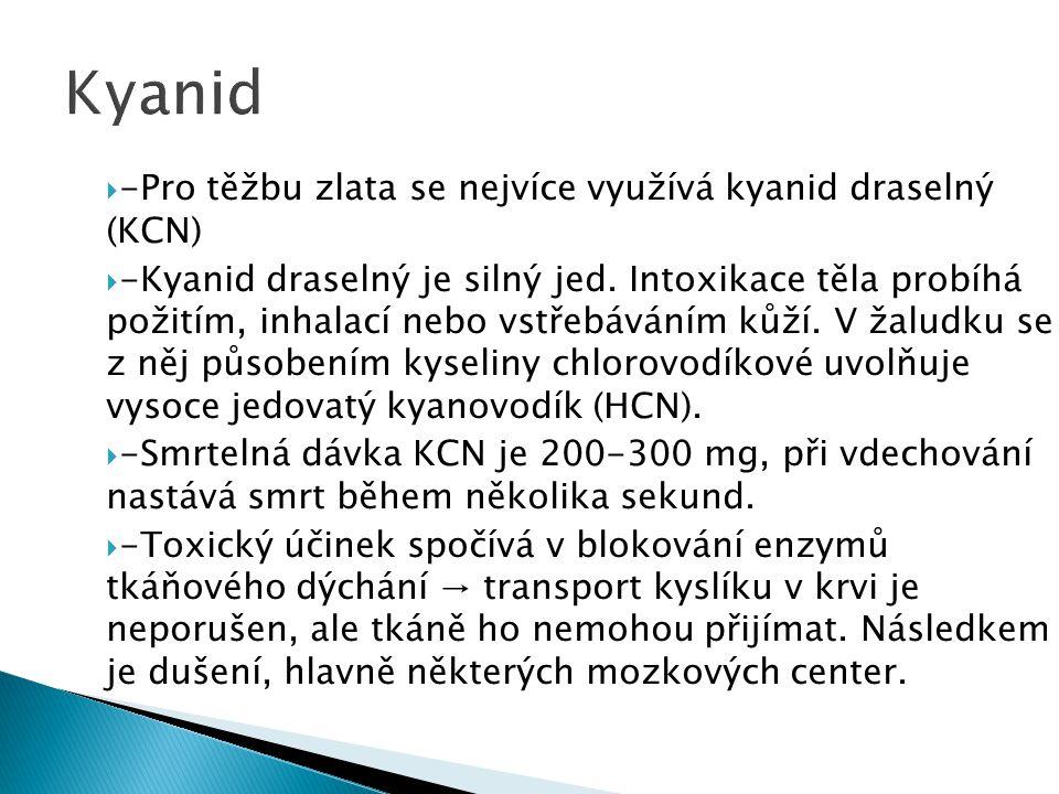 Kyanid -Pro těžbu zlata se nejvíce využívá kyanid draselný (KCN)
