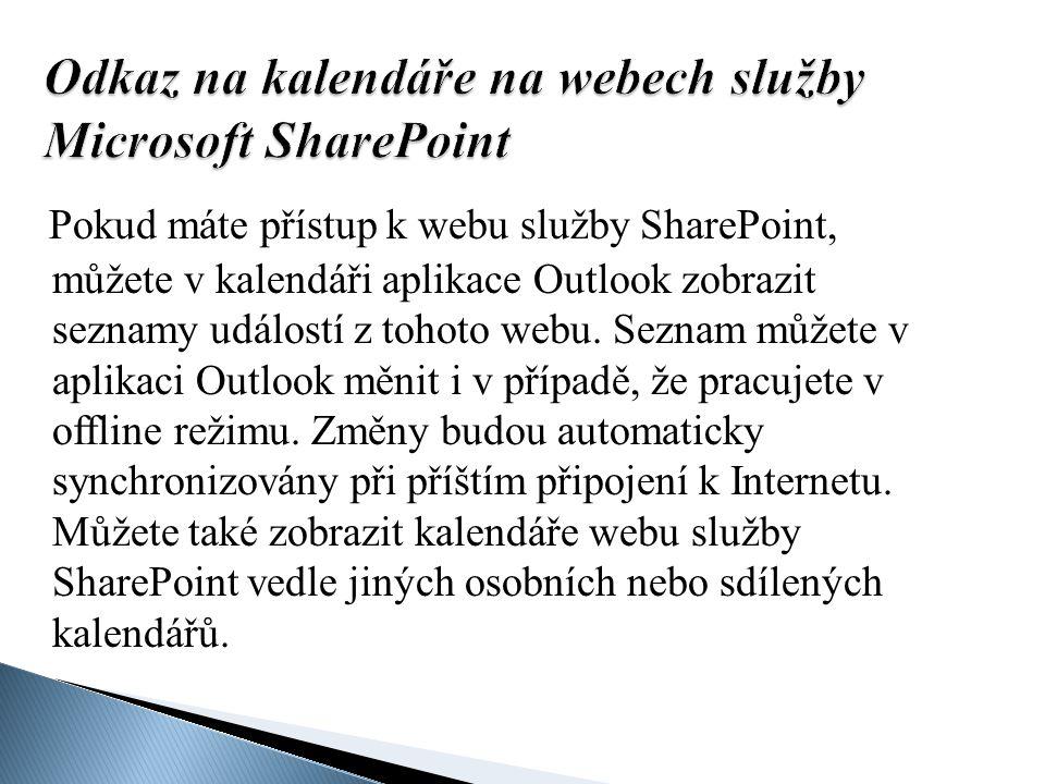 Odkaz na kalendáře na webech služby Microsoft SharePoint