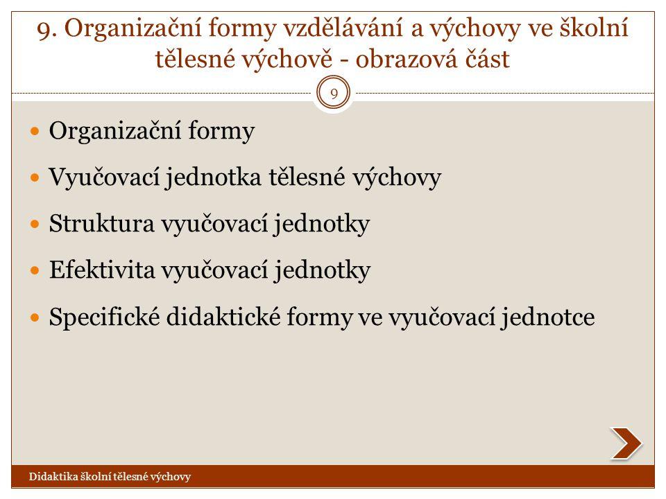 9. Organizační formy vzdělávání a výchovy ve školní tělesné výchově - obrazová část